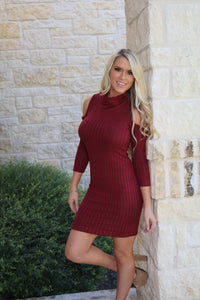 Cowl Neck Sweater dress in Burgundy