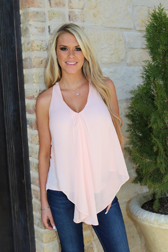 Drape Chiffon Top in Blush