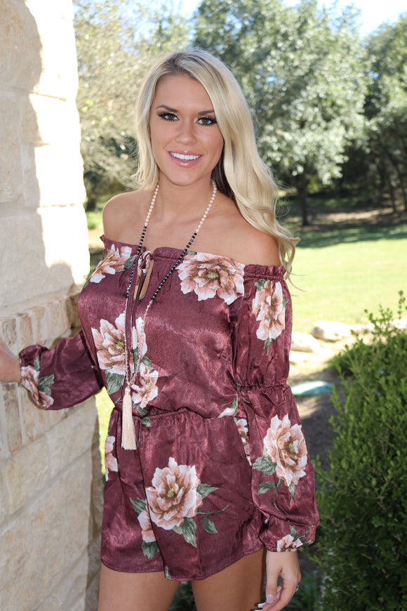 Floral Perfection Satin Romper in Burgundy