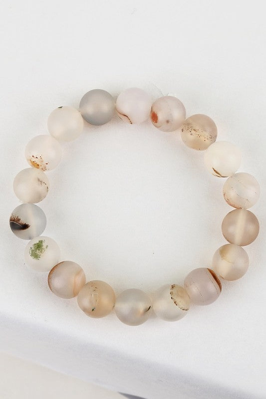 Stackable Stretch Bracelet in Gray Agate