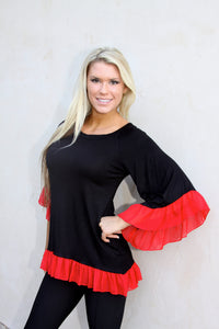 Game Day Ruffle Top in Black & Red