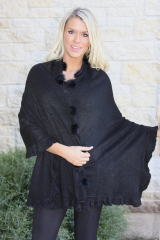Black Wool Fur wrap