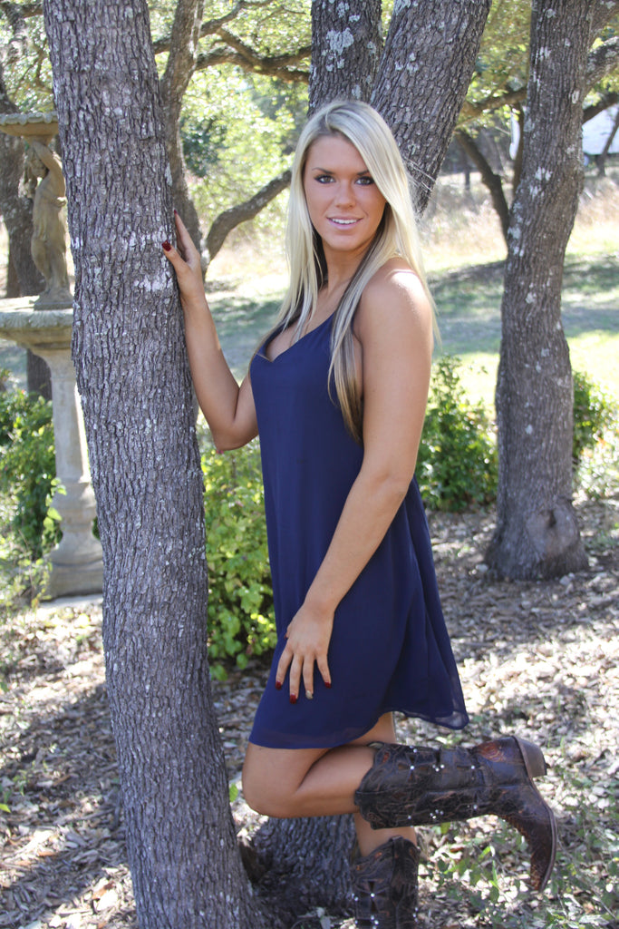 Chained In Love navy dress-Only One Left!