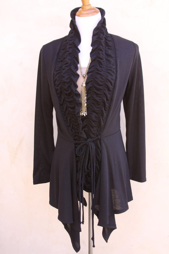 Black ruffle cardigan-Size 1X to 3X