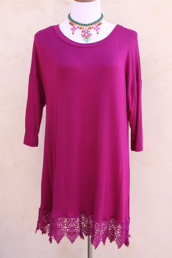 Lace trim tunic in plum-Size 1X to 3X