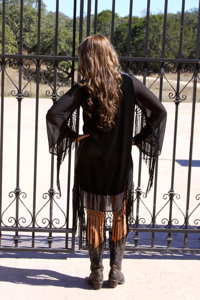 Velvet Hi Lo tunic with fringe by Noa Elle