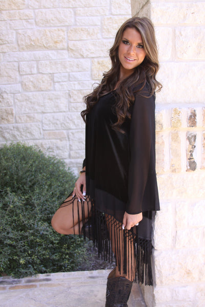 Velvet tunic with fringe by Noa Elle
