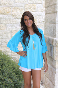 Madison Ruffle top in blue