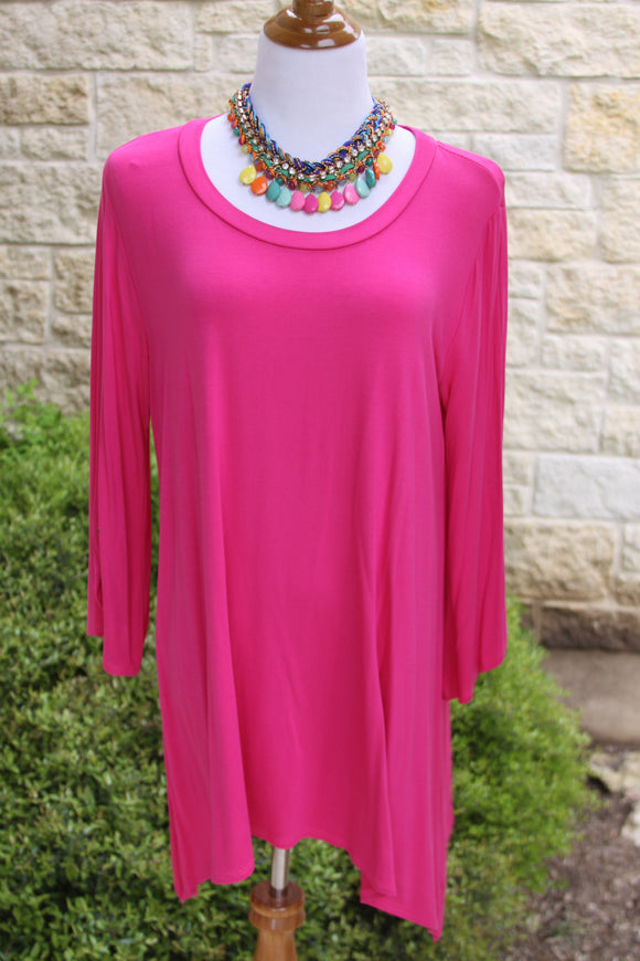 Not So Basic tunic in hot pink-1X to 3X