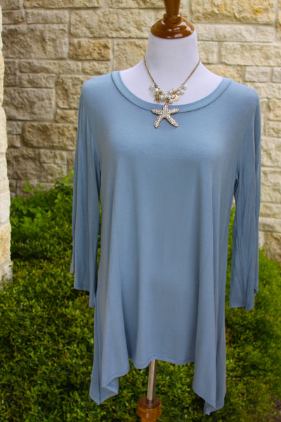 Not So Basic tunic in Slate blue-1X to 3X
