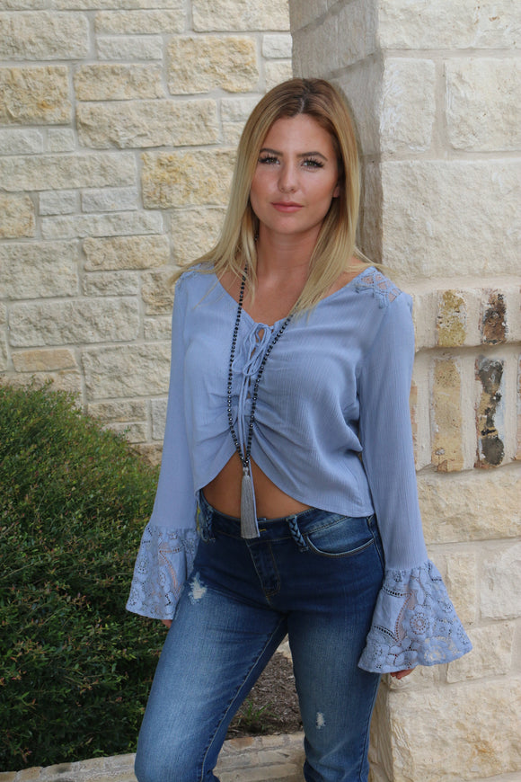 Chambray Lace Top