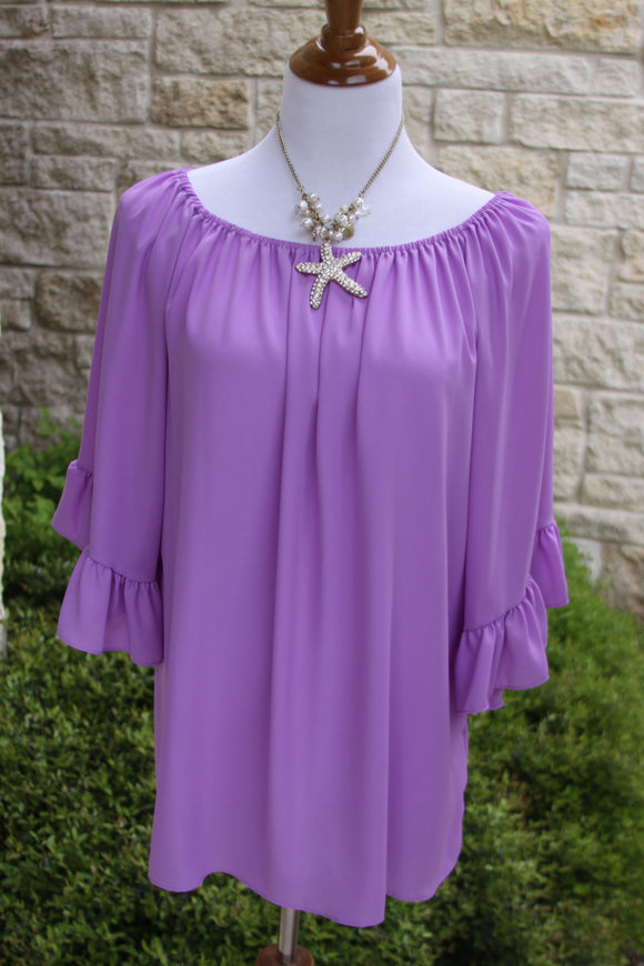 Lunch at the Ritz ruffle tunic in Lavender- Size S to 1X