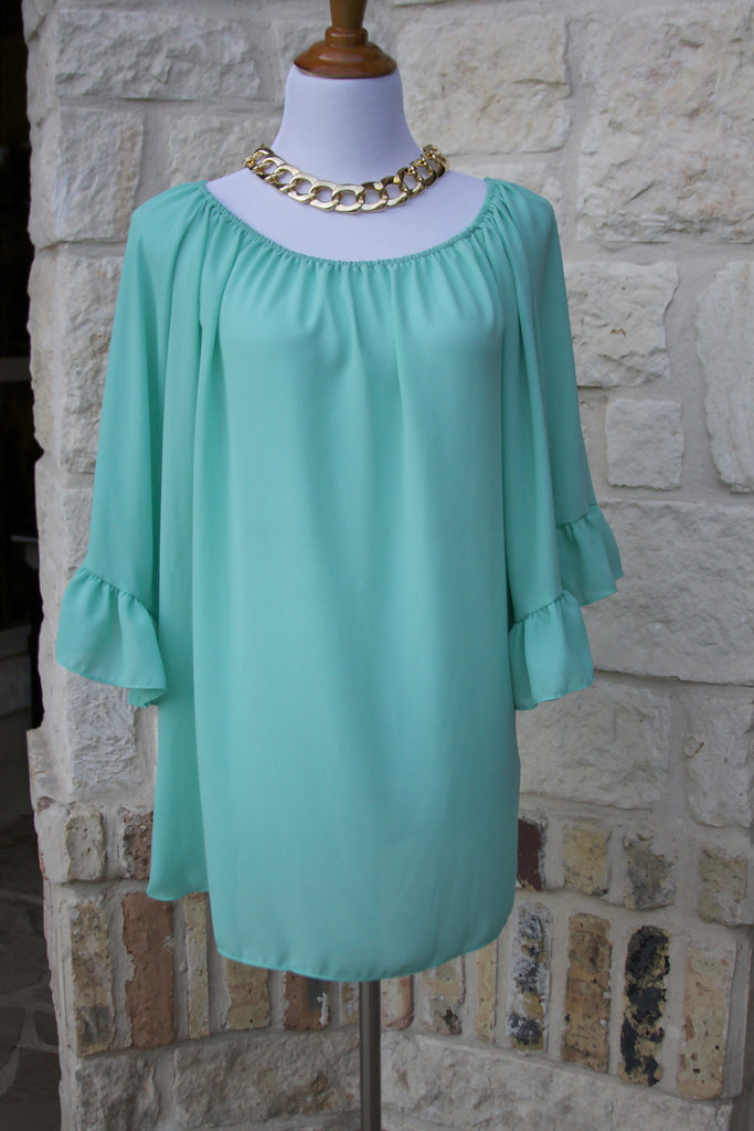 Lunch at the Ritz ruffle tunic in Mint-Size S to 1X