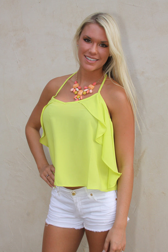 Ruffle tank in yellow