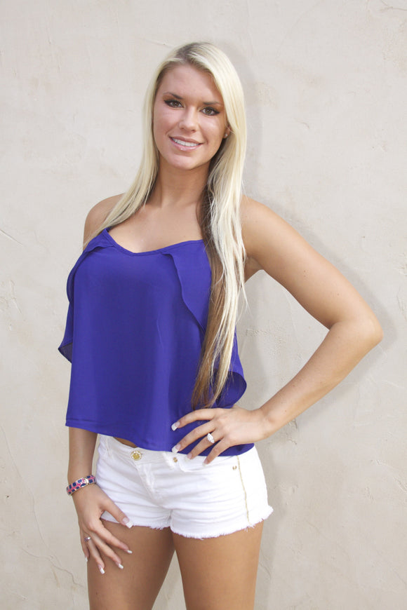 Ruffle tank in royal blue