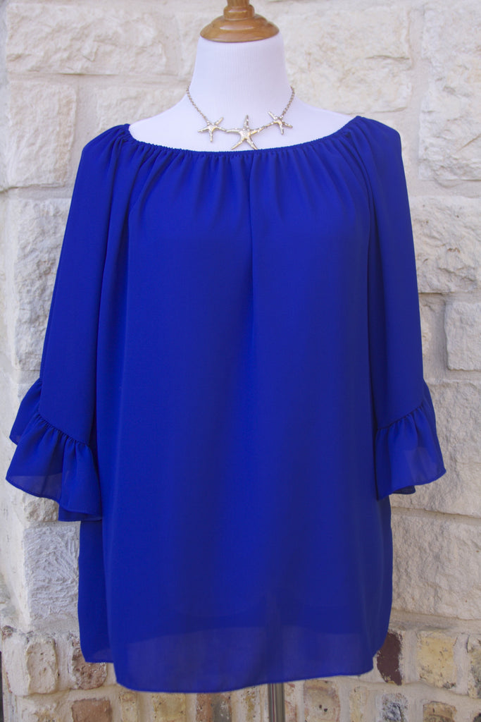 Lunch at the Ritz ruffle tunic in Royal Blue- ONE LEFT