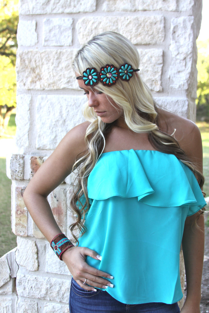 Flower child headband in Turquoise ONE LEFT