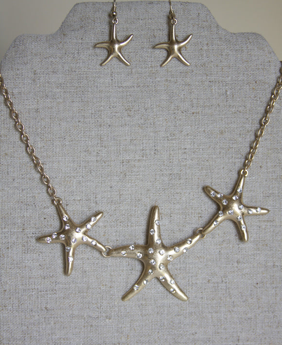 Starfish necklace & earring set