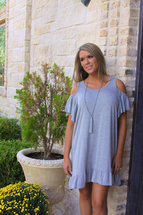 Open Shoulder Ruffle dress in Gray