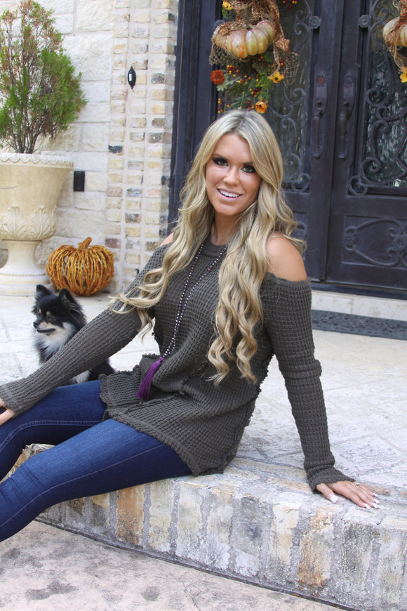 Cold Shoulder Cutie sweater