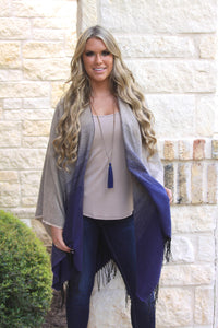 Navy Ombre Poncho