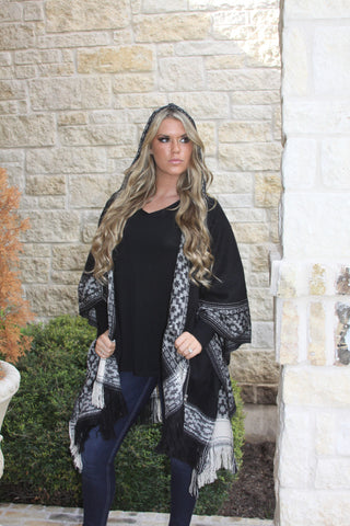 Black and Cream Zippered Poncho by Elan