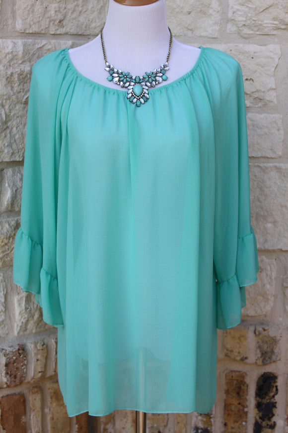Lunch at Tiffanys ruffle tunic in Aqua-Plus Sizes