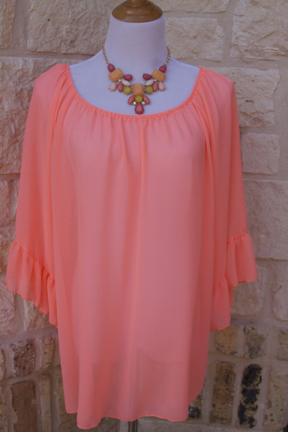 Lunch at Tiffanys ruffle tunic in Neon Coral-Plus Sizes