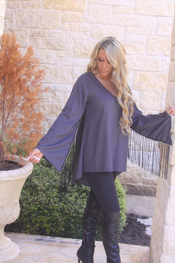 Cowgirl Fringe Tunic in Charcoal by Noa Elle