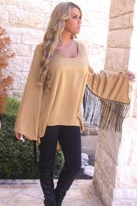 Cowgirl Fringe Tunic in Gold by Noa Elle