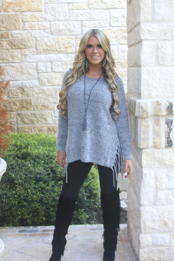 Gray Fringe Sweater