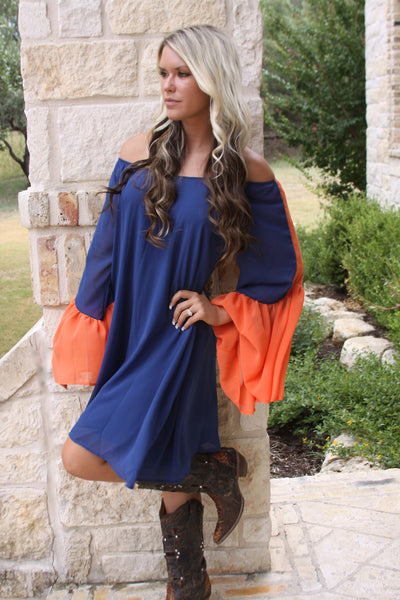 Game Day Dress #2 in Navy and Orange by 2tee Couture