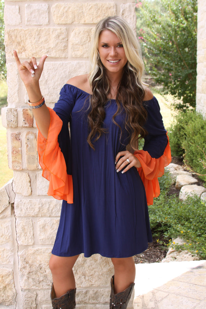 Game Day Dress #1 in Navy and Orange by 2tee Couture