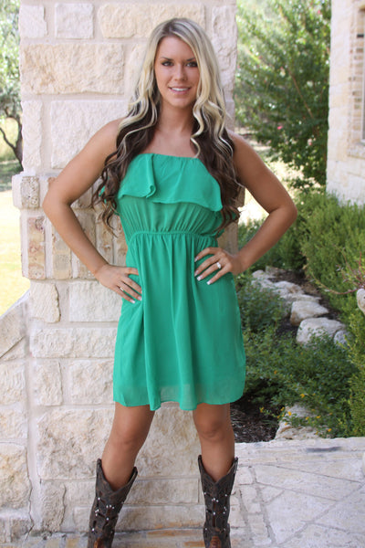 Game Day ruffle dress in Green