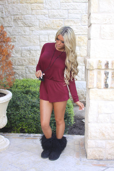 Take It Easy Romper - Burgundy