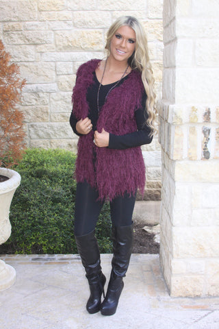 Berry Cute Fuzzy Vest by Elan