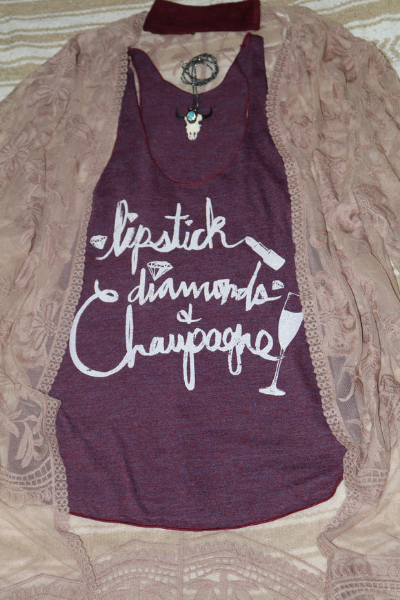 Lipstick, Diamonds and Champagne tank