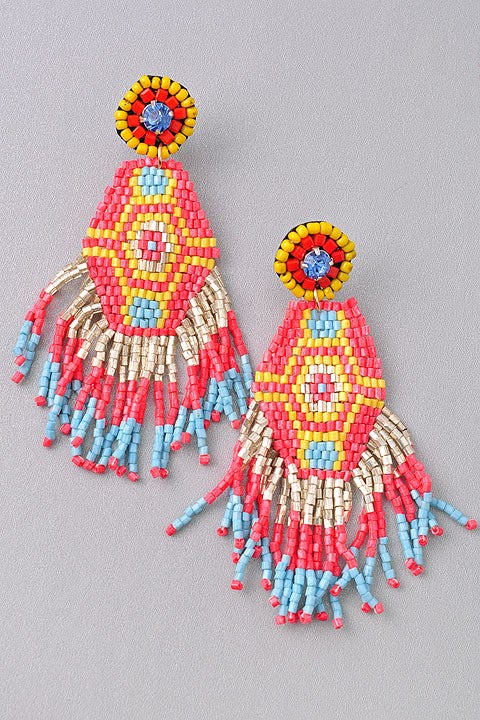 Sunrise Seed Bead Tassel Earrings
