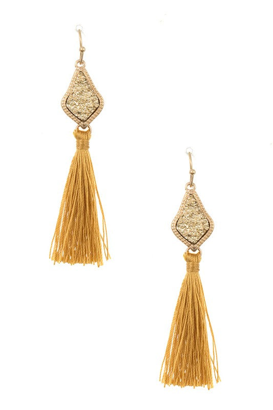 Druzy Tassel Earrings in Mustard