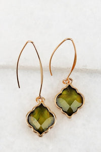 Moroccan Drop earrings in Olive