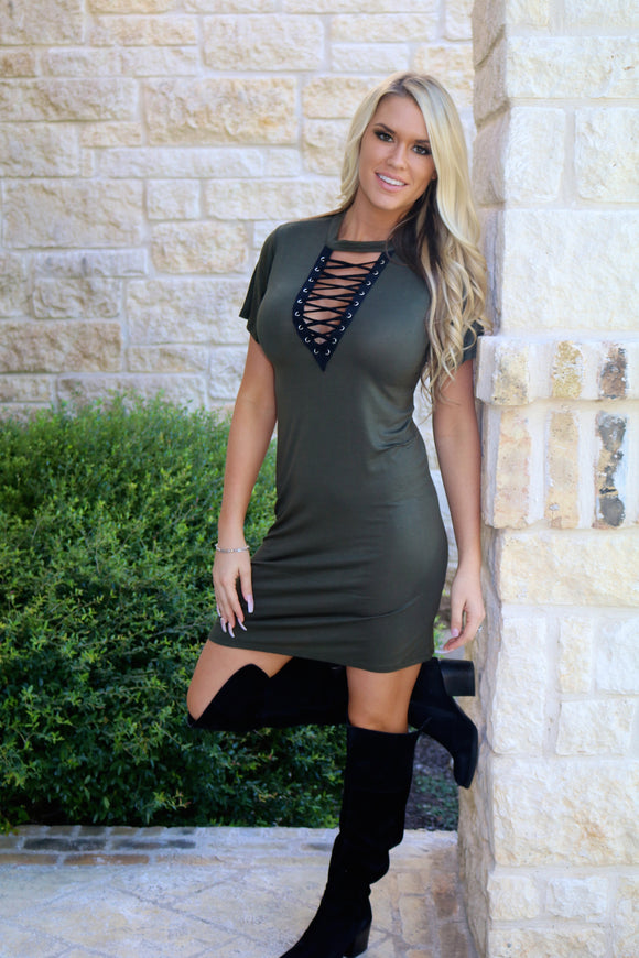 Lace Up dress in Olive