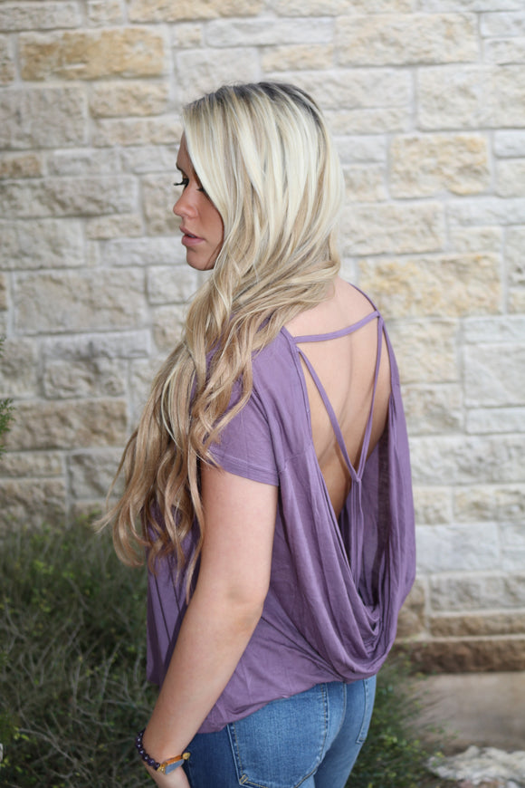 Plum Drape Back Top