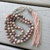 Jasper Stone tassel necklace