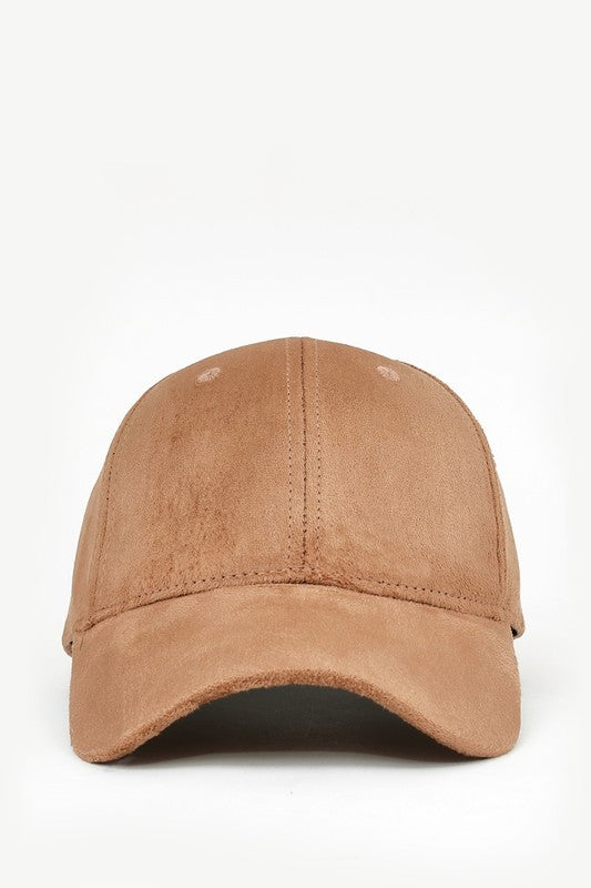 Suede Baseball Cap in Tan