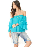 Indian fringe top in Turquoise