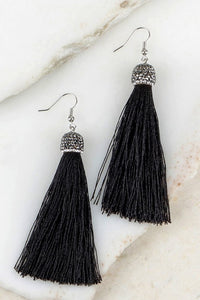 Rhinestone Tassel Earrings in Black
