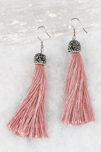 Rhinestone Tassel Earrings in Blush