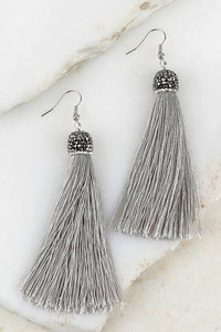 Rhinestone Tassel Earrings in Gray