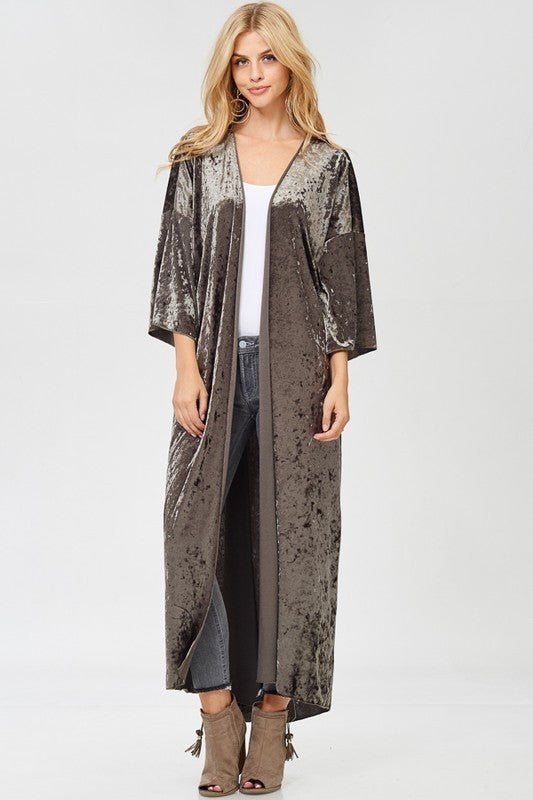 Velvet duster in Taupe