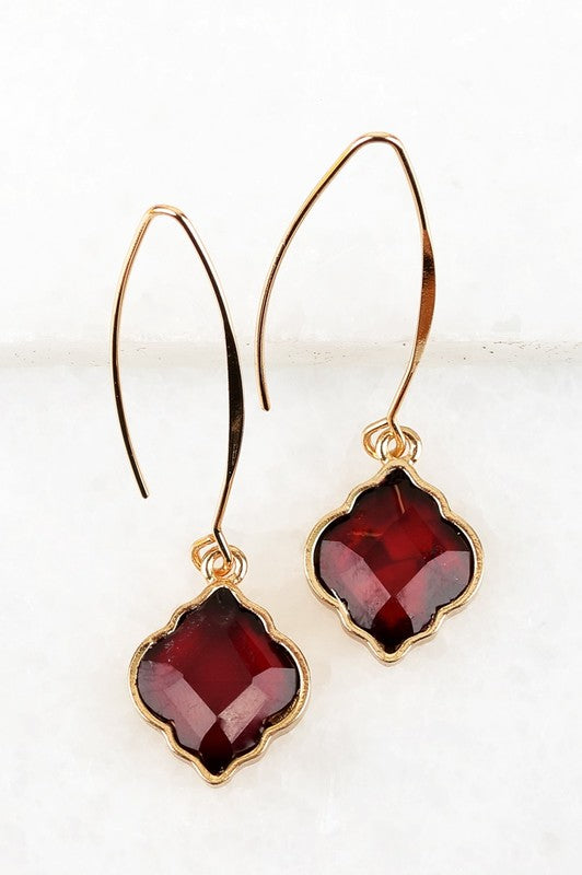 Morroccan Drop earrings in Burgundy